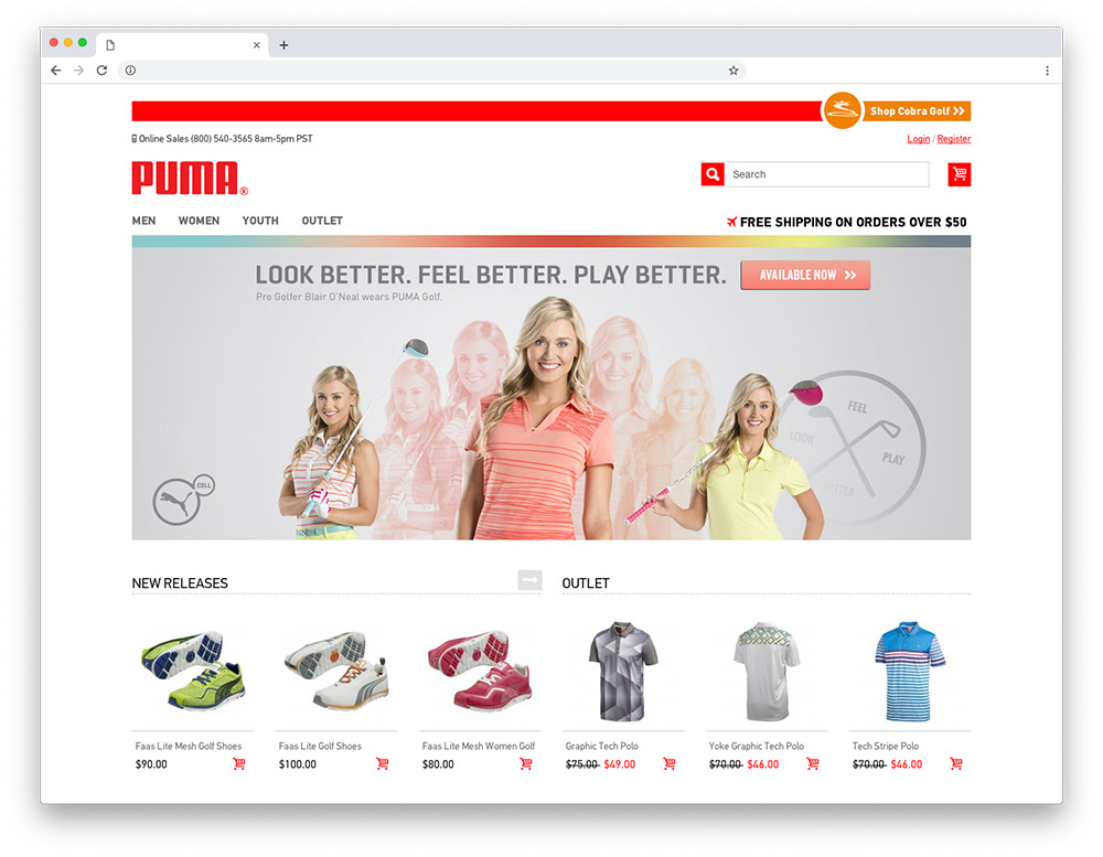 Design sample - Puma Golf homepage