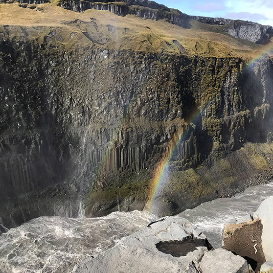 Photo sample of double rainbow over waterfall in Iceland