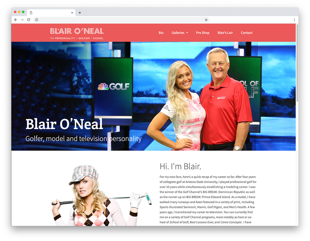 Design sample - Blair O'Neal homepage