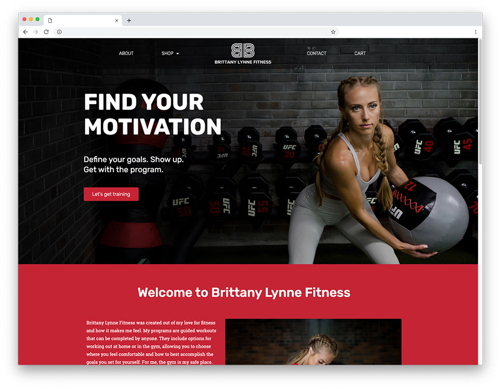 Design sample - Brittany Lynne Fitness homepage